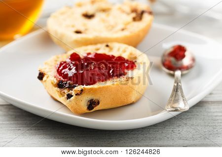 2 pieces of chocolate brioche with jam ** Note: Shallow depth of field