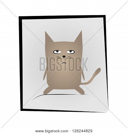 Simple sad gray cat in the bevelled black frame on a gray background.