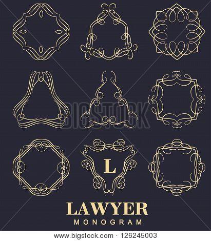 Set of elegant monogram design. Vector  linear frame and monogram illustration. Trendy linear monogram and linear frame for justic lawyer, boutique or hotel
