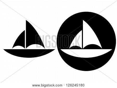 Simple monochrome silhouette of a sailboat. Black on white and white on black background.