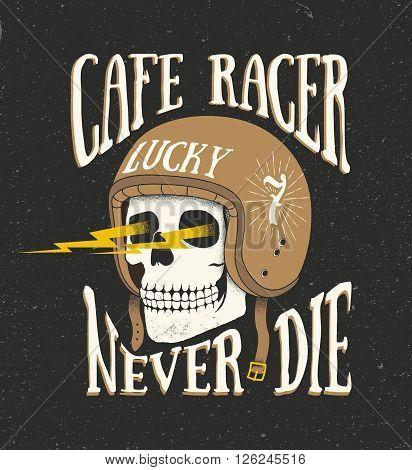 Vintage old school hand drawn styled vector label of skull in helmet. Cafe racer theme. Vector illustration.