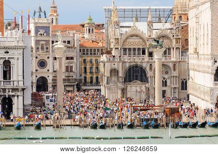 VENICE ITALY - JULY 10 2009: The Piazzetta di San Marco as seen from the lagoon