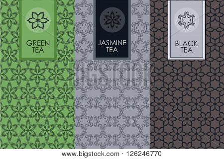 Vector set of templates packaging, label, banner, poster, identity, branding, logo icon, seamless pattern in trendy linear style for tea package - jasmin, black and green tea