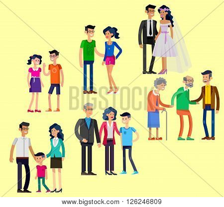 Detailed character people. Stages of life of family, young couple, childhood friendship, first date and wedding, first baby, old parents and adult son. Vector family character. Illustration family people
