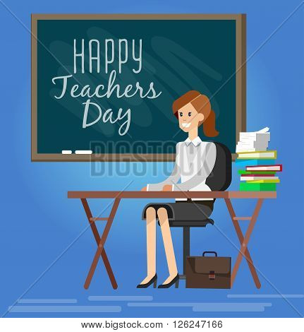 Teachers day. Composition for Teachers day. Vector Illustration for Teachers day. School Design Elements