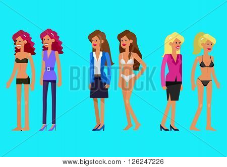 Vector detailed character woman dressed and undressed, in lingerie. Illustration of woman dressed, woman undressed
