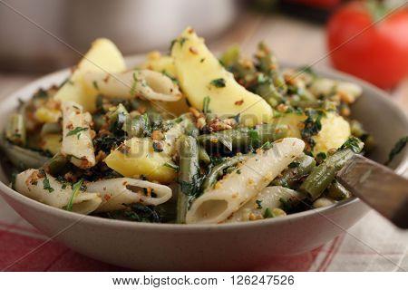 Pasta, potato, and green beans with pesto