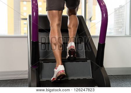 Close-up Exercising On A Stepper