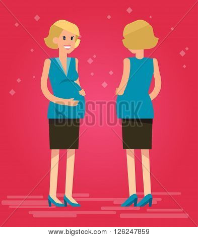 Vector detailed character happy pregnant woman In the front and in the back. Cool flat pregnant woman illustration. Vector pregnant woman
