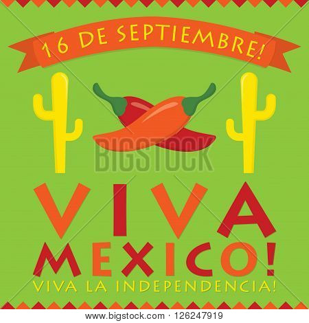 Retro Style Viva Mexico (mexican Independence Day) Card In Vector Format.