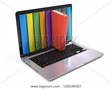 Digital library and online education concept - laptop computer with colorful books. 3d rendering