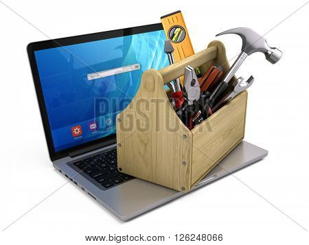 Toolbox with tools on laptop - Repair and recovery concept. 3d rendering