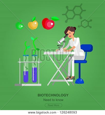 detailed character woman scientis, laboratory technician looking through a microscope, Biotechnology icons concept