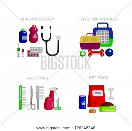 high quality veterinary object and veterinary icons set, pet shop. Pets accessories and vet store, grooming tools, veterinary pharmacy. Vector veterinary object. Illustration of veterinary