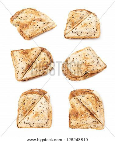 Press toasted sandwich panini isolated over the white background, set of six different foreshortenings