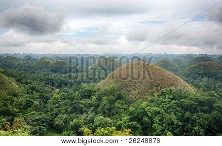 Geological conical hill formation on the island of Bohol in the Philippines and is UNESCO World Heritage site