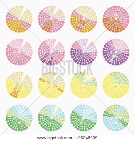 Set circular color different shades is not bright. vector illustration