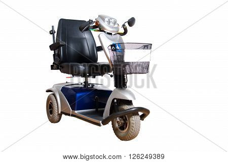 3 wheel motorised wheelchair with basket for disposable people isolated