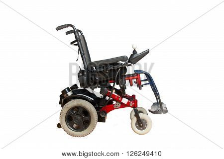 4 wheel motorised wheelchair for disposable people isolated