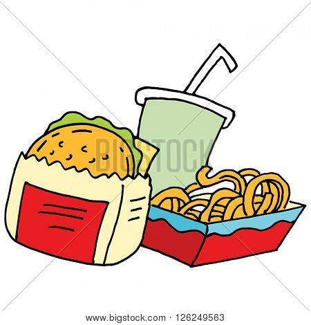 An image of a Hamburger curly fries and soda.