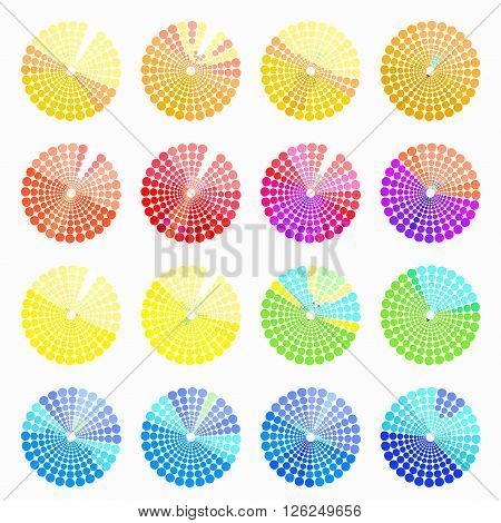 Set circular color different shades of light yellow. vector illustration