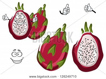 Cartoon ripe white fleshed pitaya fruit with leafy pinkish red peel. Happy dragon fruit character for exotic farm mascot, vegetarian recipe, tropical cocktail design usage