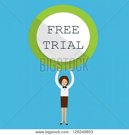 free trial woman holding sign vector illustration cartoon