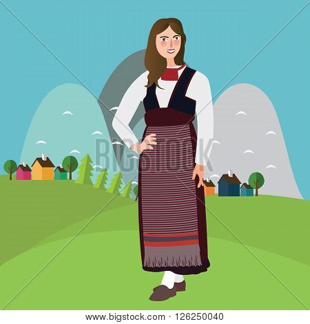 Finland woman wear traditional costume dress clothing ethic cultural fashion smiling female cartoon character vector