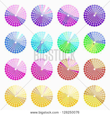 Set circular color different shades of purple. vector illustration