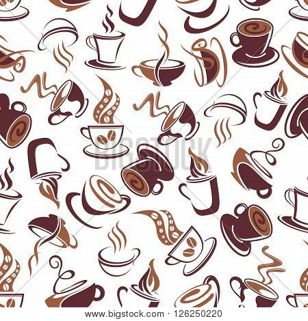 Aroma coffee retro seamless pattern with brown outline cups of fresh brewed coffee, adorned by ornamental swirls of steam and coffee beans. Coffee shop menu, cafe interior and fabric design usage