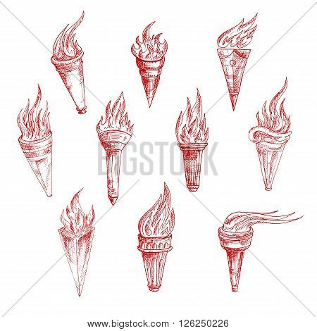 Flaming torches red sketch drawings in vintage engraving style with carved decorative elements on handles. Addition to ancient history, sporting achievements, victory, peace concept