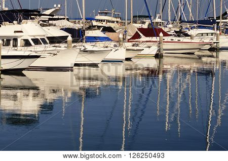 Yacht Parking  and speedboat at Balihai harbor in Pattaya, Thailand.