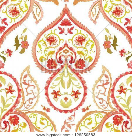 Watercolor Paisley Seamless Background on White. Cold Colors. Indian, Persian or Turkish Art. Vector Handdrawn Pattern.
