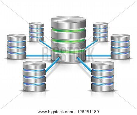 Metallic database network concept on white background