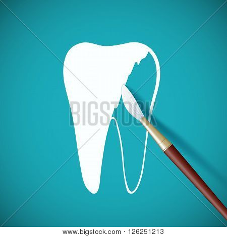 Brush paints over white paint a human tooth. Stock vector illustration.