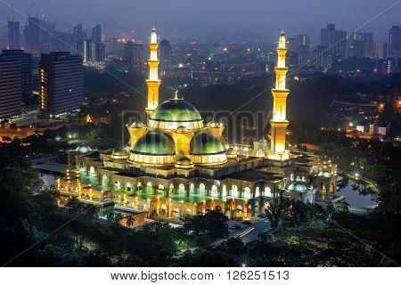 Masjid Wilayah Persekutuan by night, Kuala lumpur Malaysia ** Note: Visible grain at 100%, best at smaller sizes
