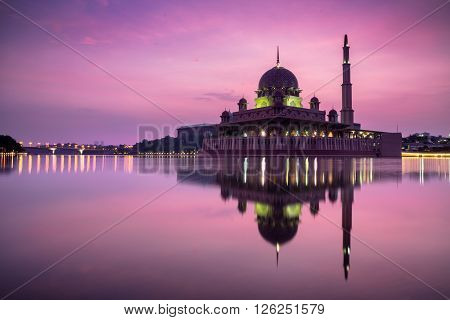 Putra mosque during sunrise with reflection Malaysia