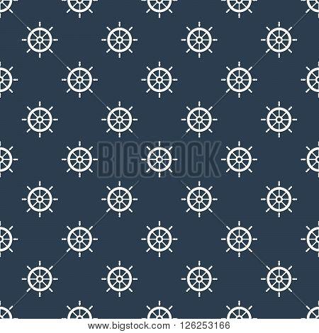 Maritime mood, Seamless nautical pattern with steering wheels, vintage, vector illustration