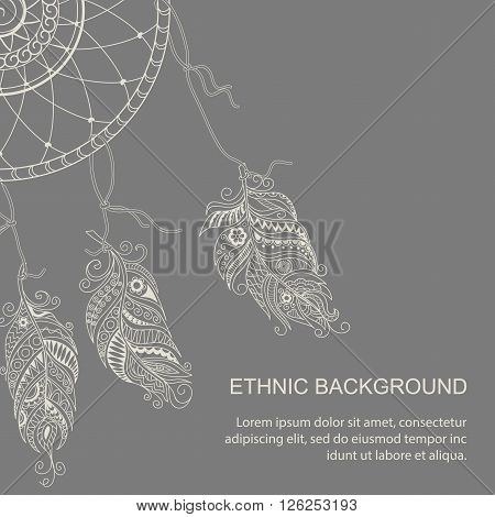 Hand drawn monochrome card with doodle feather and dream catcher in boho style. Can put it on the any color of the background. Vector illustration - eps 8.