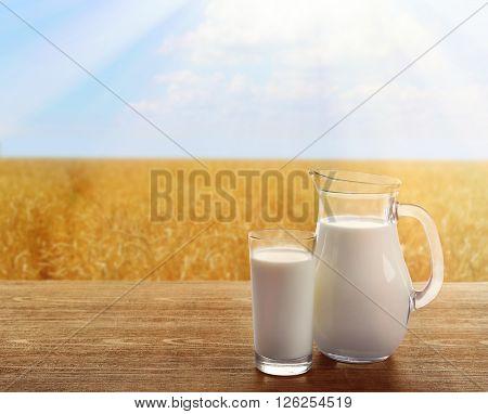 Milk in glassware on sunny nature background