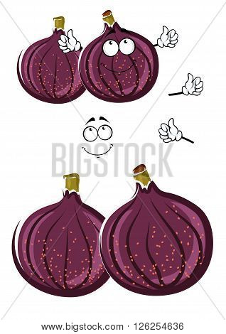 Luscious fresh cartoon deep violet common fig fruits with cute smiling face. Sweet exotic fruit character for vegetarian dessert, agriculture harvest or recipe book design