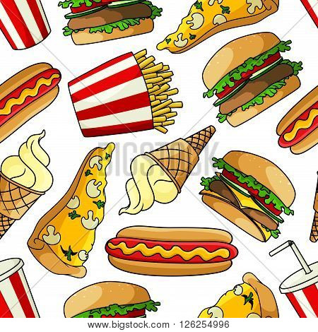 Bright cartoon fast food seamless pattern with vegetarian pizzas topped with mushrooms and cheese, hamburgers and cheeseburgers with fresh vegetables, hot dogs, french fries, paper cups of soda and vanilla ice cream cones on white background