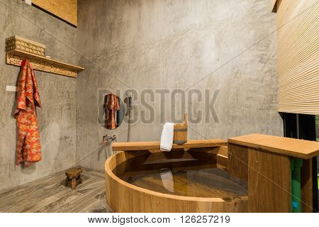 Onsen series : Asian bathroom with wooden bathtub