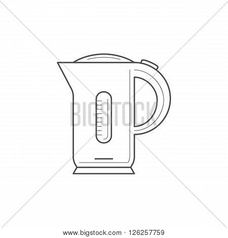 Kettle outline thin line icon. Household appliance, kitchen and restaurant accessories, equipment. Flat design kettle.