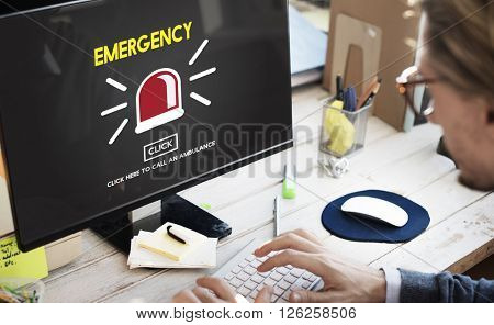 Emergency Ambulance Alarm Alert Concept