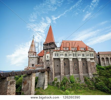 medieval Corvin Castle in Hunedoara is built in Renaissance-Gothic, Romania