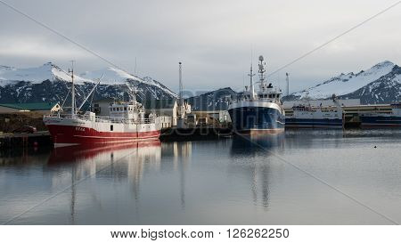 HOFN, ICELAND, MARCH 27: Small fishing Harbor at Hofn town in Southeast Iceland on March 27 2016.