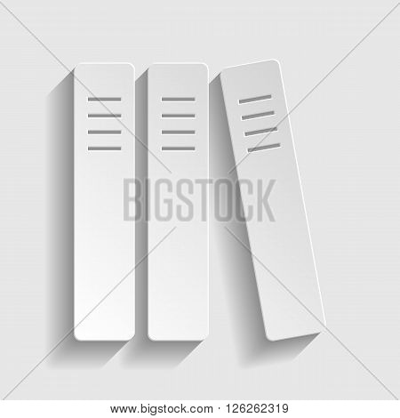 Row of binders, office folders icon. Paper style icon with shadow on gray
