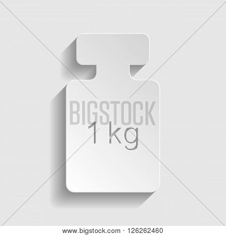 Weight simple Icon. Paper style icon with shadow on gray