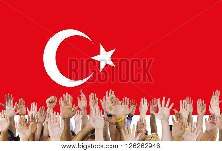 Turkey National Flag People Hand Raised Concept